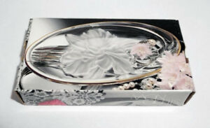 Oval glass crystal fancy serving dish (BRAND NEW in box)