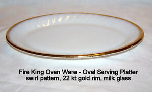Vintage, Fire-King Oven Ware, oval  platter, like new