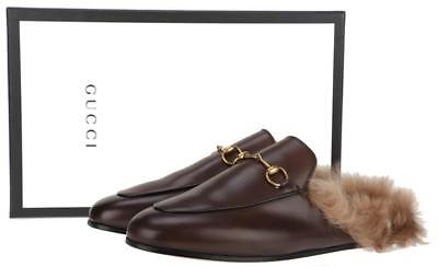NEW GUCCI BROWN PRINCETOWN LEATHER HORSEBIT KANGAROO FUR MULES FLATS SHOES 41