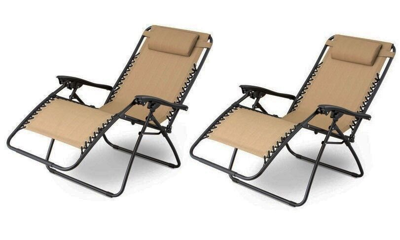 1 Pair Tan Zero Gravity Lounge Chairs Recliner Outdoor