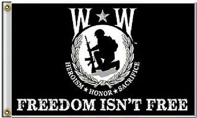 3x5 Wounded Warrior Freedom Isn't Free Flag 3'x5' Heroism Honor Sacrifice Banner
