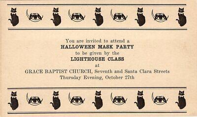 Masquerade Halloween Invitations (HALLOWEEN POSTCARD, RARE GOVERNMENT POSTAL CARD HALLOWEEN MASK INVITATION,)