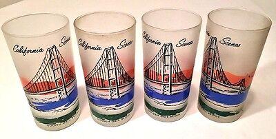 Set 4 Vtg Libbey California Scenes Golden Gate Bridge Frosted Tumblers Glasses