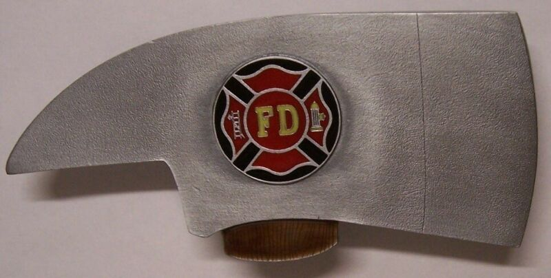 "Trailer Hitch Cover Rescue Fire Department Axe NEW Cast Metal 2"" receiver"