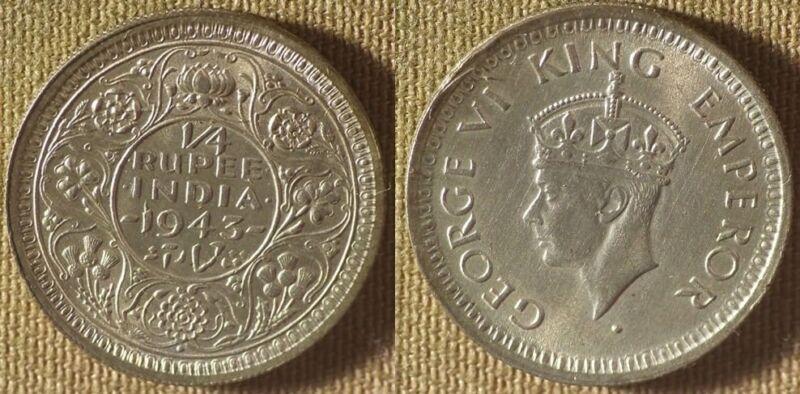 India : British 1943 1/4 ) 1 Rup. BU Luster Stock Picture IR8580