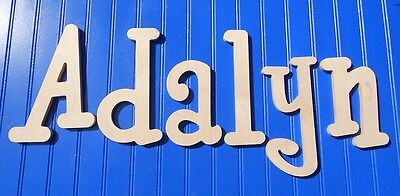 """Wooden Wall Letters 10"""" size Unpainted Wood Child Nursery Names Decor Whimsical"""