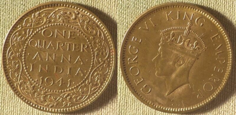 India : 1941(b) 1/4 Anna CH.UNC  Nice Luster  #531   IR8500