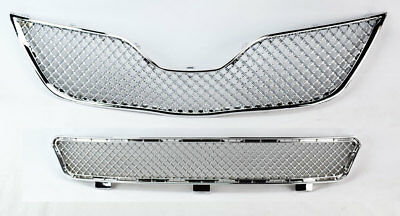 (Front Bumper Upper & Lower Mesh Chrome Grille Assembly For Toyota Camry 07-09)
