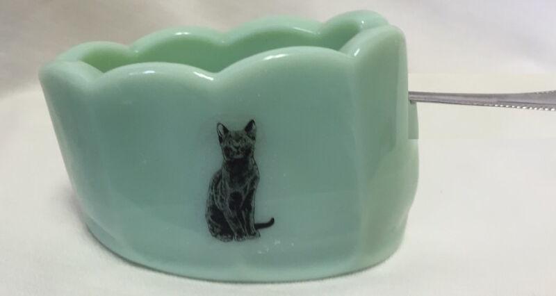 Jade Jadite Jadeite Milk Green Glass Old Mule Spoonholder w/ Black Cat