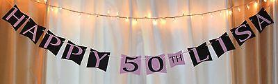 happy 50th birthday hanging banner/sign decoration