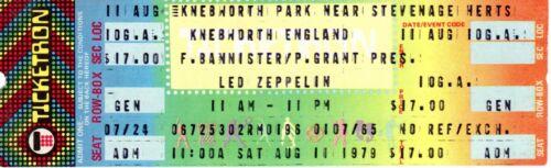VINTAGE LED ZEPPELIN UNUSED TICKET - KNEBWORTH, ENGLAND -  8/11/79 - MINT
