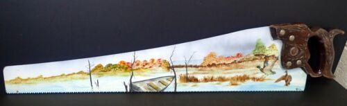 Hand Painted Folk Art Saw Blade Wetland Scenery w/ Ducks & Row Boat by Wheeler