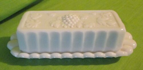 Westmoreland Paneled Grapes Milk Glass Covered Butter Dish