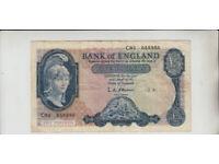 AB694. Bank of England £5 Banknote Series B 1957-67 #C93 655956.