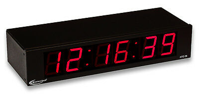 """MasterClock NTD26 NTP Internet Synchonized 2.3"""" Red LED Wall Clock IP Ethernet"""