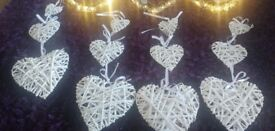 4 white wicker hanging 3 tier hearts