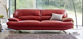 Leather sofa 3 seater, Harvey's, red in very good condition.