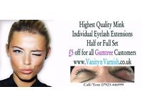 Semi-Permanent High Quality Individual Eyelash Extensions Half or Full Set from £25