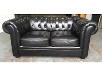 Black faux leather Chesterfield sofa WE DELIVER UK WIDE