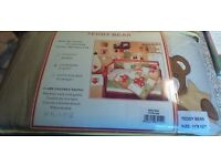 Teddy Bear Cot Quilt, Cot bumper and nappy stacker £30