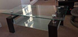 Coffee Table - Glass + Metal + Wood