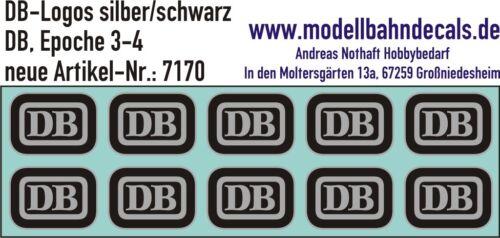 10 Db-Logos (Biscuit) Gauge 1 Black/Silver - Decals New 032-7170