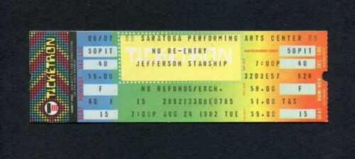 1982 Jefferson Starship unused concert ticket Saratoga Springs Winds Of Change