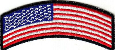 AMERICAN FLAG ROCKER BLACK BORDER Iron On Patch USA -
