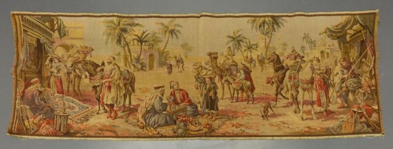vtg Antique Belgium / Belgian Middle Eastern Desert Marketplace Tapestry 55x20