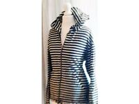 Monsoon Navy Blue and White Breton Stripes Nautical Zipped Hoodie.Size L/UK 20