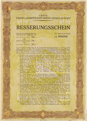 Danube Steamship Company   1927 German bond certificate river Besserungsschein