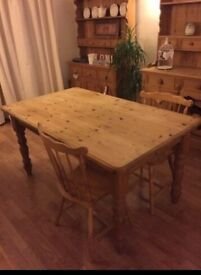Solid Pine Rustic Farmhouse Dining Table