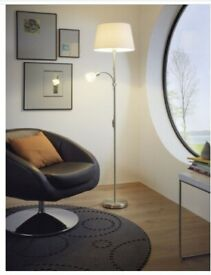 Lamp with material light shade and small glass light for reading or soft glow
