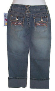 Studded Jeans Cuffed Capris - Size 5 - NEW