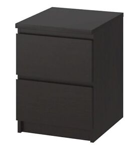 MALM 2-drawer chest, black-brown, from IKEA Like NEW condition.
