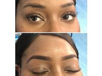 Eyebrow tint, wax and extension