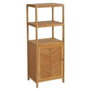 NEW in BOX EcoStyles Bamboo 3-Shelf Tower with Cabinet
