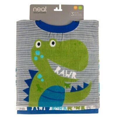 Neat Solutions 3 Piece Bib Set Dinosaur Rawr Large Cloth Bibs Brand New