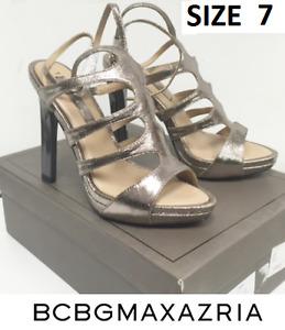 WOMEN'S BCBG MAXARZRIA METALLIC HIGH HEEL SHOE SIZE 7 + 6.5 $200