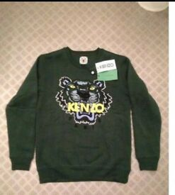 Green & yellow kenzo sweatshirt men's xs / s ladies 10