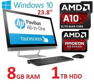 REFURB HP 23.8 AIO TOUCH DESKTOP PC 24-B019 147232867 AMD A10 9630P 8GB RAM 1TB HDD WIN 10 AMD R5 GPU
