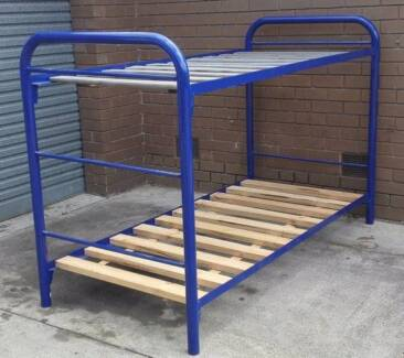 blue metal frame bunk bed with mattresses, no ladder
