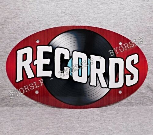 Metal Sign RECORDS vinyl albums record store day shop music phonograph oval