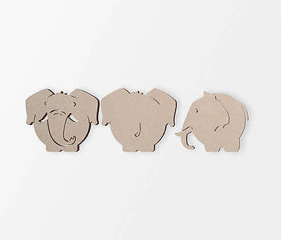 Wooden Elephant Cutout (3 Pack) | Cutout, Home Decor, Unfinished and - Elephant Cutout