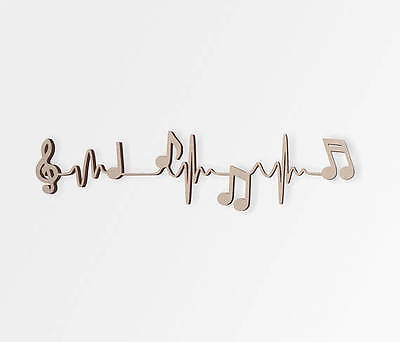Wooden Shape Music Notes Heart Beat, Wooden Cut Out, Wall Art, Home (Wooden Heart Cut Out)