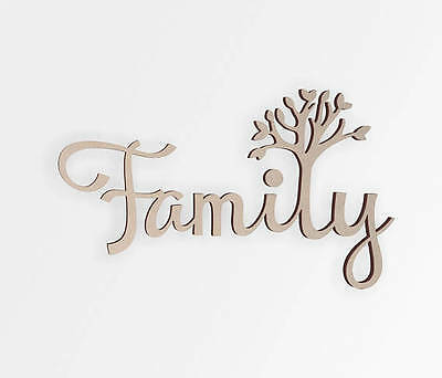 Wooden Shape Family Tree- Wooden Cut Out, Wall Art, Home Decor, Wall Hanging ()