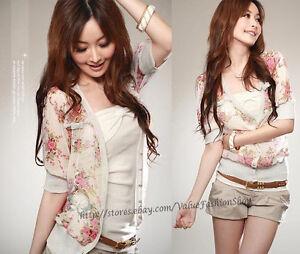 New-Korean-Ladies-Casual-Flower-Womens-Chiffon-Outerwears-Tops