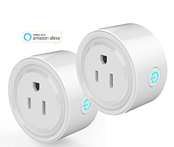 Mini Smart Plug - WiFi-Enabled - Works-with-Alexa-Remote-Control-Socket - 2-Pack