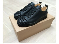 Christian Louboutin Low Top Black Leather Spiked Trainers. Size 7
