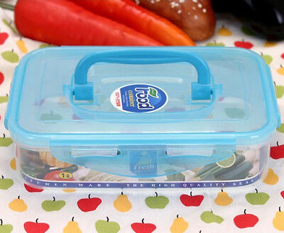 Clear Airtight Food Storage Containers Keeper Plastic Lunchbox With Handle 1L